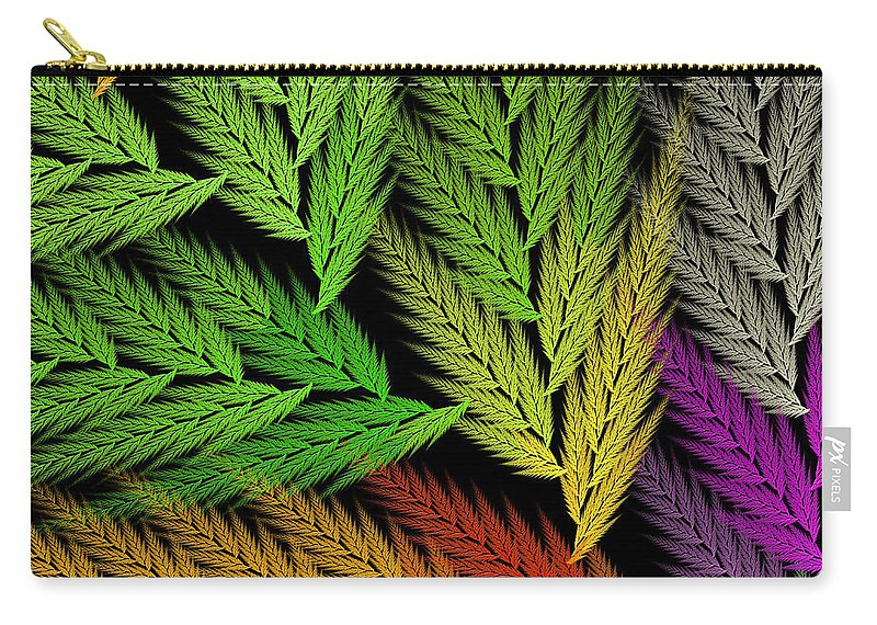Abstract Carry-all Pouch featuring the digital art Colorful Feather Fern - Abstract - Fractal Art - Square - 1 Tl by Andee Design