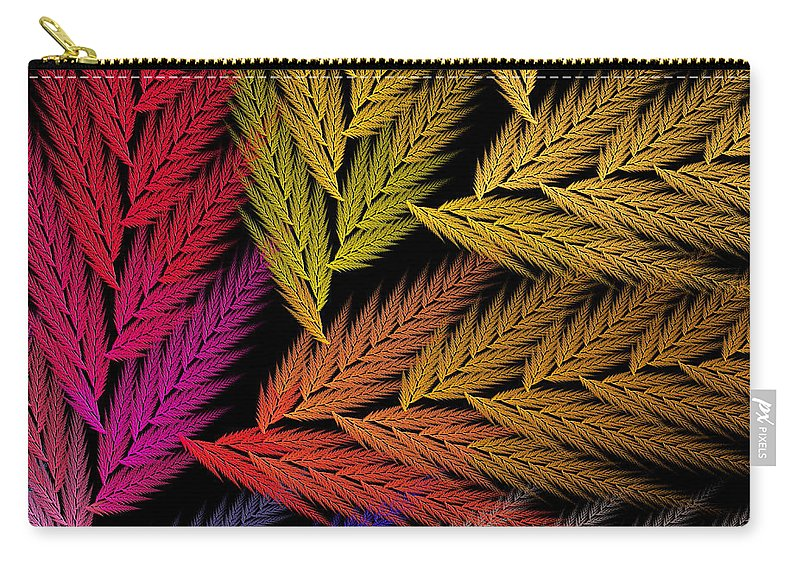Abstract Carry-all Pouch featuring the digital art Colorful Feather Fern - Abstract - Fractal Art - Square - 2 Tr by Andee Design