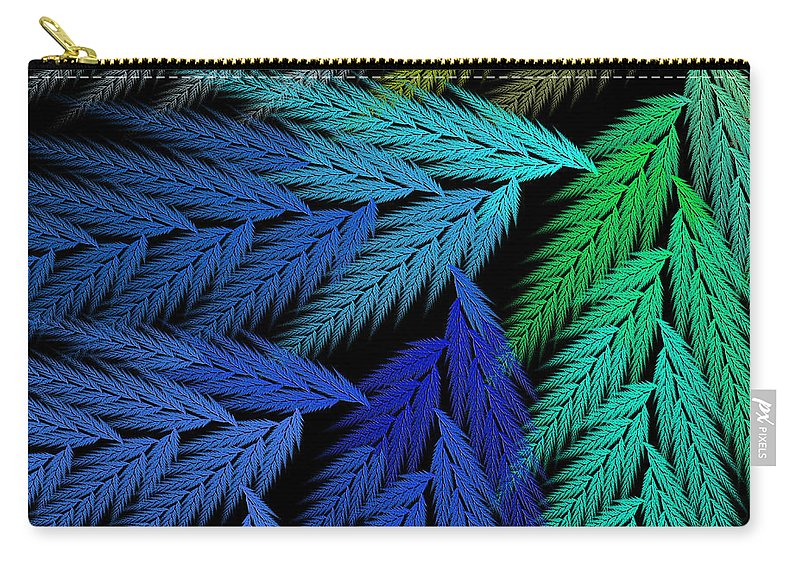 Abstract Carry-all Pouch featuring the digital art Colorful Feather Fern - Abstract - Fractal Art - Square - 3 Ll by Andee Design