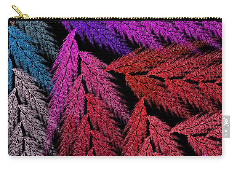 Abstract Carry-all Pouch featuring the digital art Colorful Feather Fern - Abstract - Fractal Art - Square - 4 Lr by Andee Design