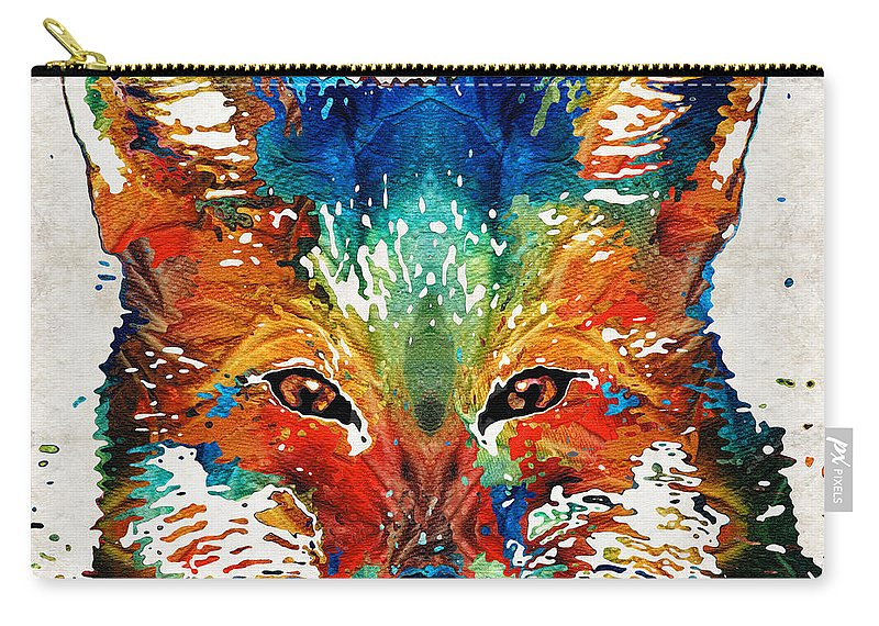 Fox Carry-all Pouch featuring the painting Colorful Fox Art - Foxi - By Sharon Cummings by Sharon Cummings