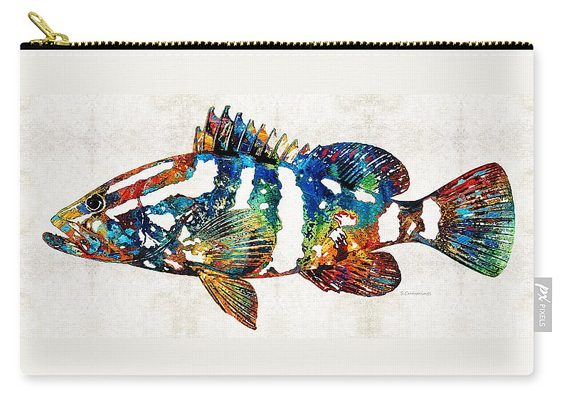 Fish Carry-all Pouch featuring the painting Colorful Grouper 2 Art Fish By Sharon Cummings by Sharon Cummings