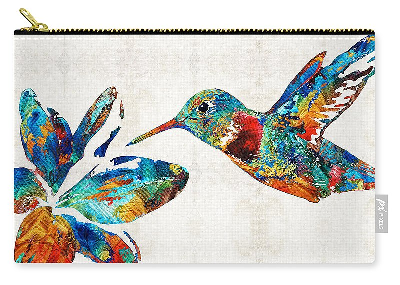 Hummingbird Carry-all Pouch featuring the painting Colorful Hummingbird Art By Sharon Cummings by Sharon Cummings