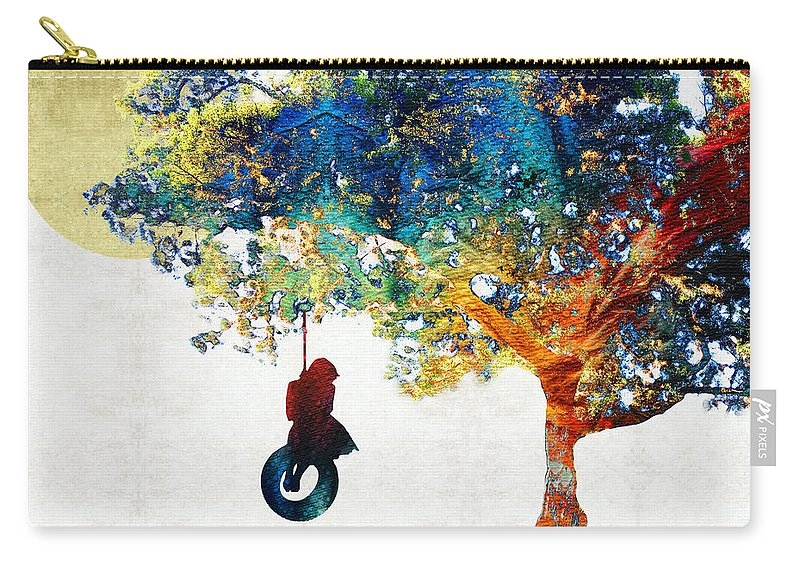 Tree Carry-all Pouch featuring the painting Colorful Landscape Art - The Dreaming Tree - By Sharon Cummings by Sharon Cummings