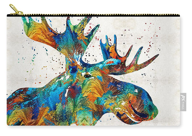 Moose Carry-all Pouch featuring the painting Colorful Moose Art - Confetti - By Sharon Cummings by Sharon Cummings
