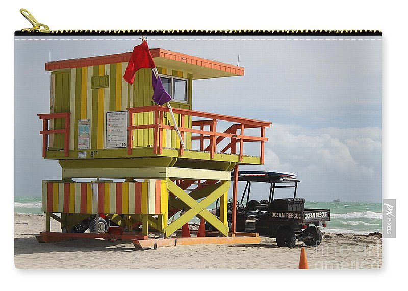 Ocean Rescue Carry-all Pouch featuring the photograph Colorful Ocean Rescue Miami by Christiane Schulze Art And Photography