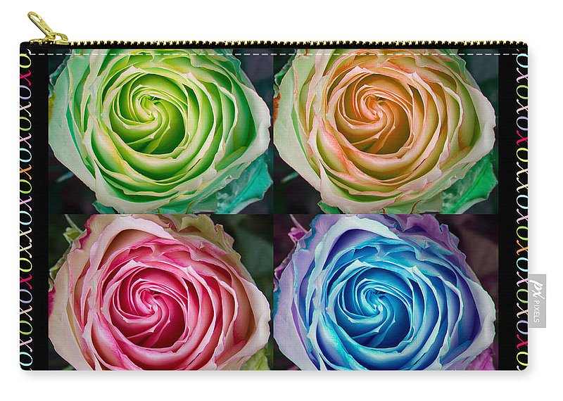 Mothers Day Carry-all Pouch featuring the photograph Colorful Rose Spirals Happy Mothers Day Hugs And Kissed by James BO Insogna