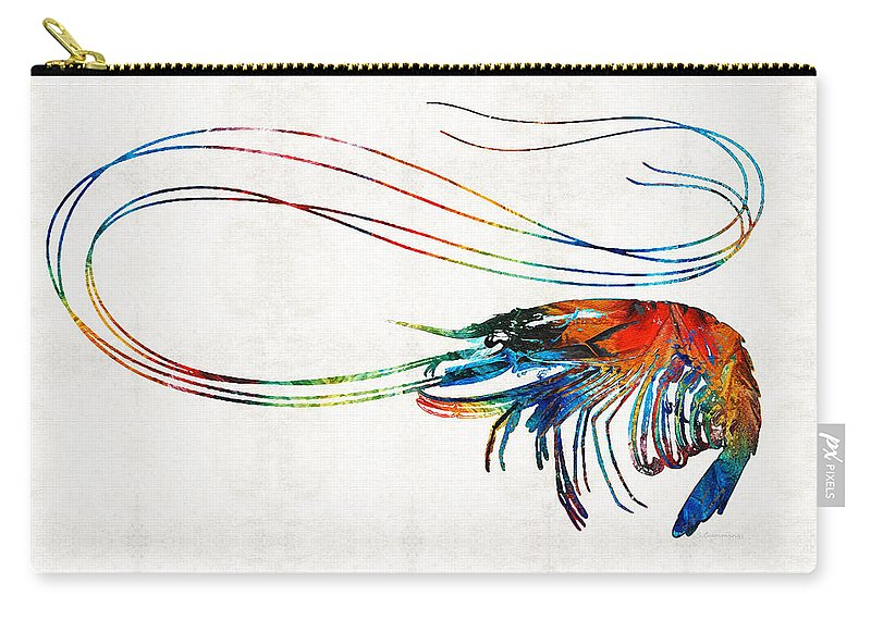 Shrimp Carry-all Pouch featuring the painting Colorful Shrimp Art By Sharon Cummings by Sharon Cummings