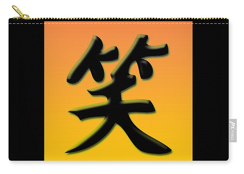 Symbols Carry-all Pouch featuring the digital art Colorful Smile With Frame by Lj Lambert