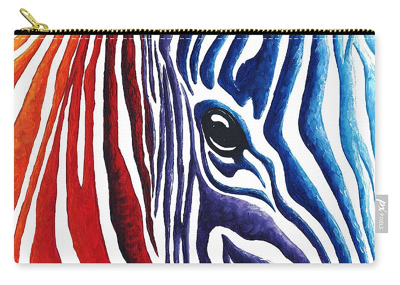 Abstract Carry-all Pouch featuring the painting Colorful Stripes Original Zebra Painting By Madart by Megan Duncanson