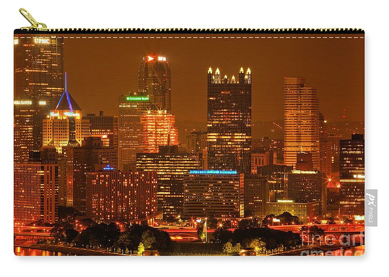 Pittsburgh Pennsylvania Carry-all Pouch featuring the photograph Colorful Summer Night In Pittsburgh by Adam Jewell