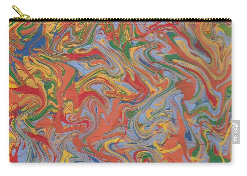 Chaos Carry-all Pouch featuring the painting Colorful Swirls Drip Painting by Jill Christensen