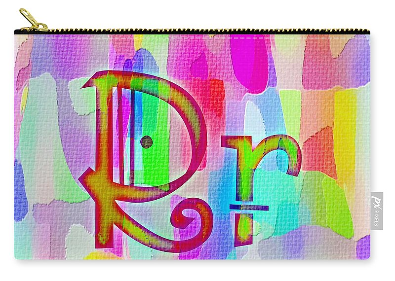 Colorful Texturized Alphabet Rr Carry-all Pouch featuring the digital art Colorful Texturized Alphabet Rr by Barbara Griffin