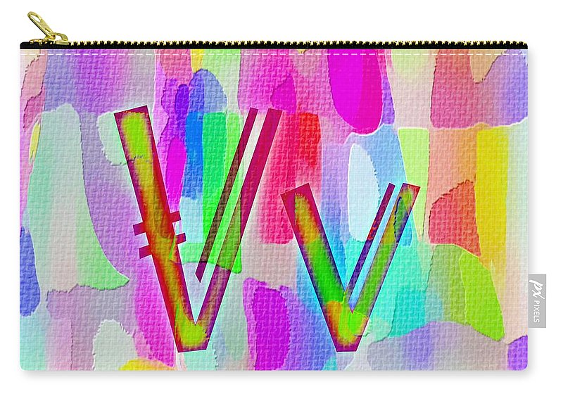 Colorful Texturized Alphabet V V Carry-all Pouch featuring the digital art Colorful Texturized Alphabet Vv by Barbara Griffin