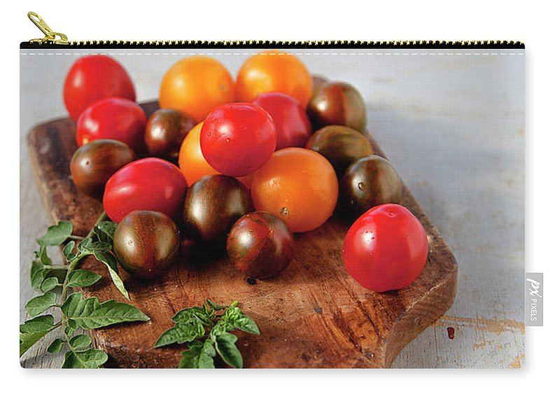Cutting Board Carry-all Pouch featuring the photograph Colorful Tomatoes by ©tasty Food And Photography