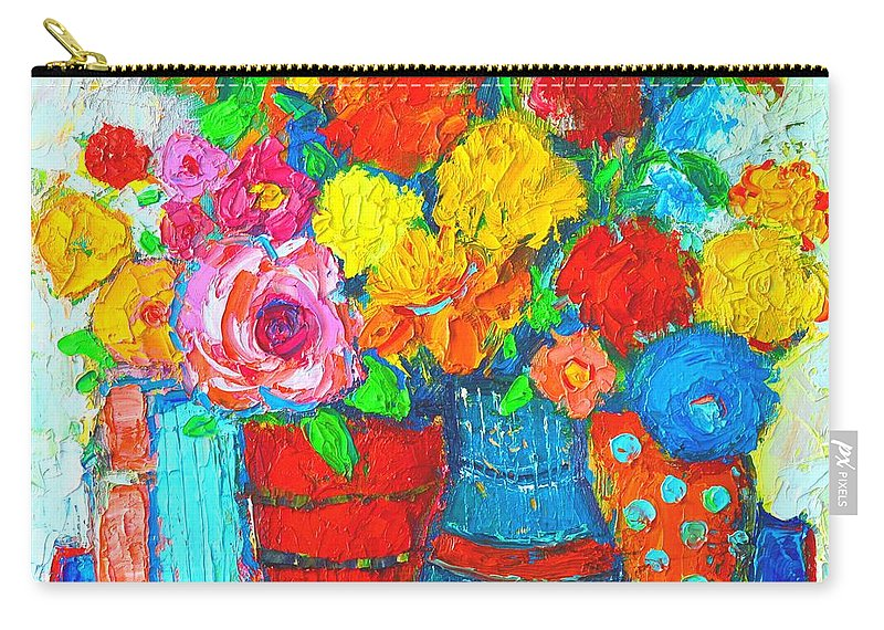 Colorful Vases And Flowers Abstract Expressionist Painting Carry All Pouch