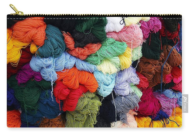 Yarn Carry-all Pouch featuring the photograph Colorful Yarn Otavalo Market Ecuador by Kurt Van Wagner