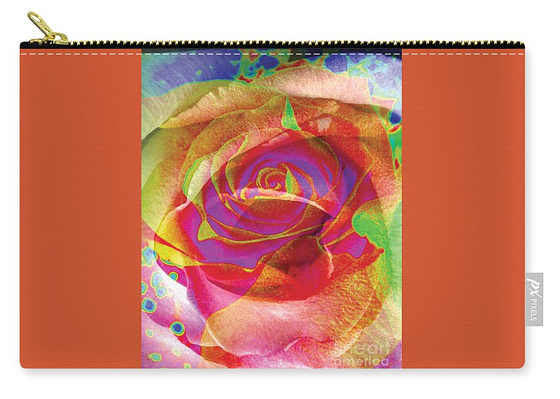Rose Flower Carry-all Pouch featuring the digital art Colorfull Rose by Yael VanGruber