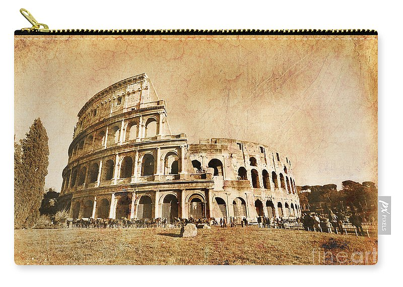 Colosseum Carry-all Pouch featuring the photograph Colosseum Grunge by Stefano Senise