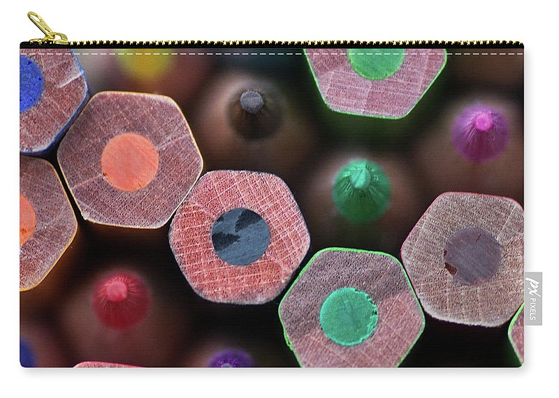 Sharp Carry-all Pouch featuring the photograph Coloured Pencils by Margaret Ford