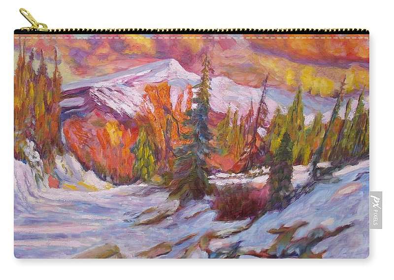 Winter Carry-all Pouch featuring the painting Coloured Winter by Elena Sokolova