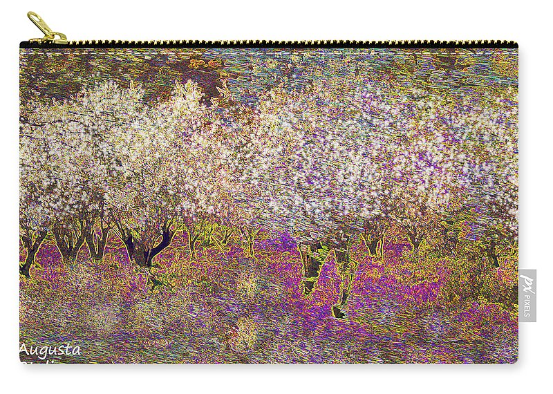 Augusta Stylianou Carry-all Pouch featuring the digital art Colourful Almond Trees by Augusta Stylianou