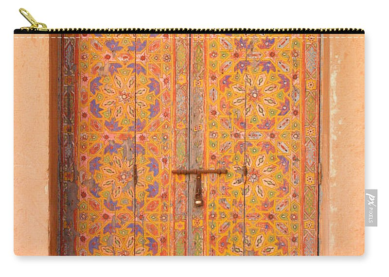 Door Carry-all Pouch featuring the photograph Colourful Entrance Door Sale Rabat Morocco by Ralph A Ledergerber-Photography