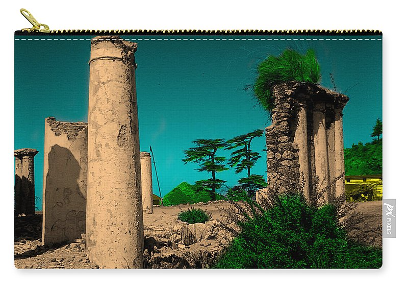 Wallpaper Buy Art Print Phone Case T-shirt Beautiful Duvet Case Pillow Tote Bags Shower Curtain Greeting Cards Mobile Phone Apple Android Nature Photoshop Colour Ruins Landscape Salman Ravish Khan Carry-all Pouch featuring the mixed media Colourful Ruins by Salman Ravish