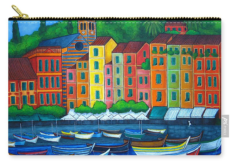 Portofino Carry-all Pouch featuring the painting Colours Of Portofino by Lisa Lorenz