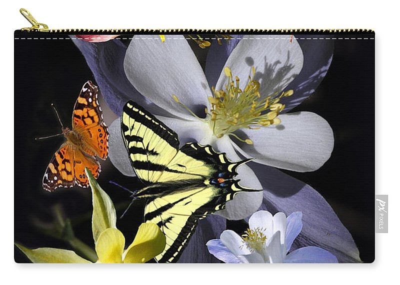 Nature Carry-all Pouch featuring the photograph Columbine And Butterfly Collage by David Salter