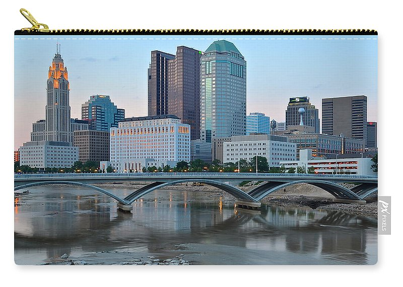 Columbus Carry-all Pouch featuring the photograph Columbus Ohio At Dusk by Frozen in Time Fine Art Photography