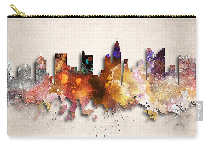 Columbus Carry-all Pouch featuring the digital art Columbus Painted City Skyline by World Art Prints And Designs