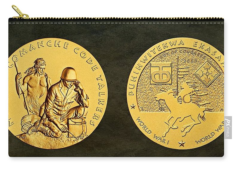 Comanche Nation Carry-all Pouch featuring the photograph Comanche Nation Tribe Code Talkers Bronze Medal Art by Movie Poster Prints