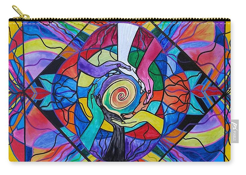 Vibration Carry-all Pouch featuring the painting Come Together by Teal Eye Print Store