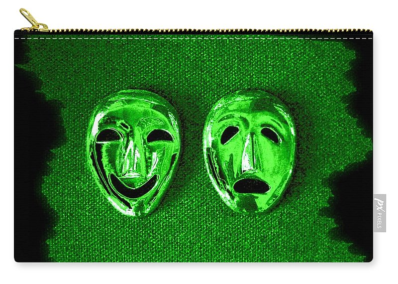 Comedy And Tragedy Masks 3 Carry-all Pouch featuring the digital art Comedy And Tragedy Masks 3 by Will Borden