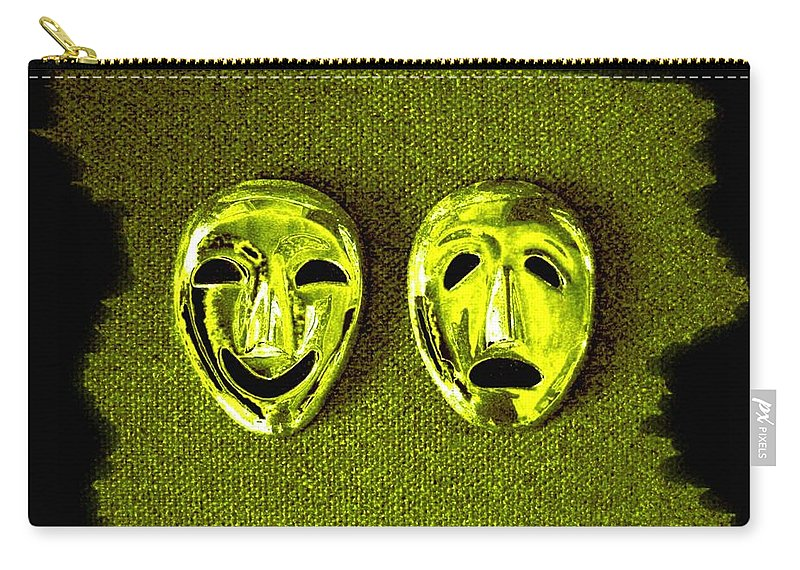 Comedy And Tragedy Masks 6 Carry-all Pouch featuring the digital art Comedy And Tragedy Masks 6 by Will Borden