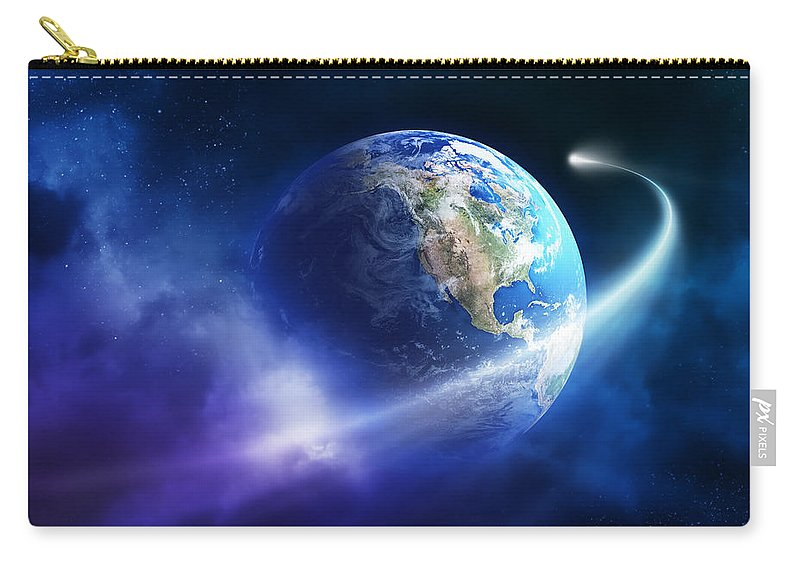 Art Carry-all Pouch featuring the photograph Comet Moving Passing Planet Earth by Johan Swanepoel