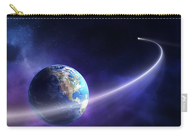 Art Carry-all Pouch featuring the photograph Comet moving past planet earth by Johan Swanepoel