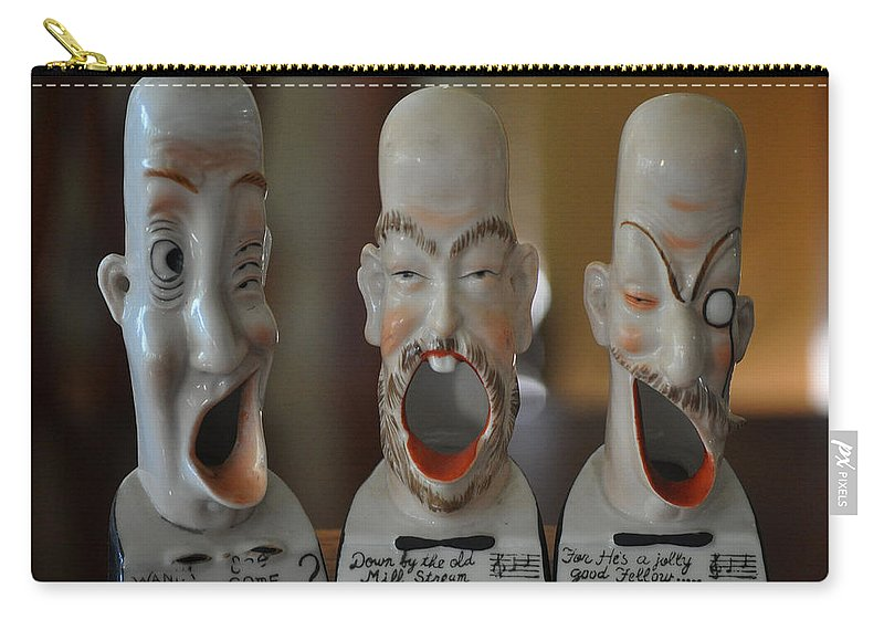 Ashtrays Carry-all Pouch featuring the photograph Comical Singing Ashtrays by Jay Milo