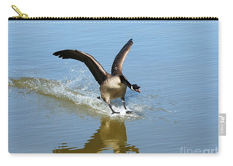 Goose Carry-all Pouch featuring the photograph Coming In For A Landing by Vivian Christopher