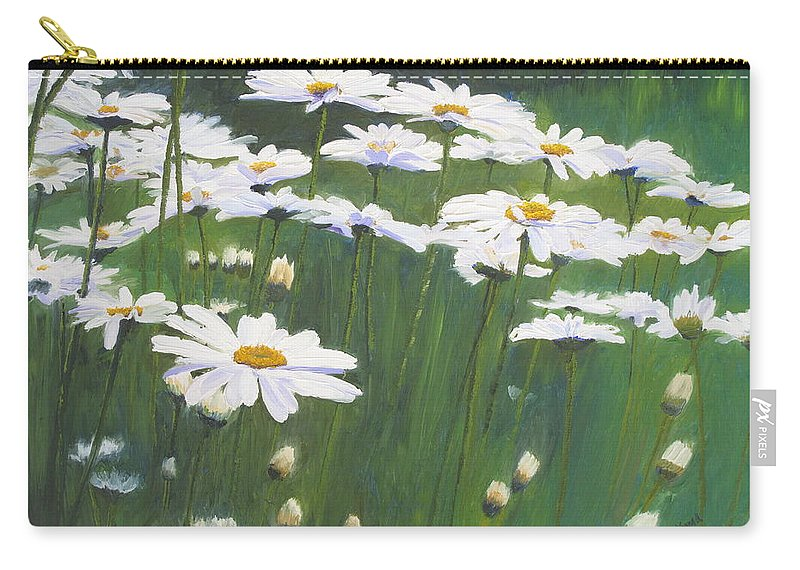 Flowers Carry-all Pouch featuring the painting Coming Up Daisies by Lea Novak