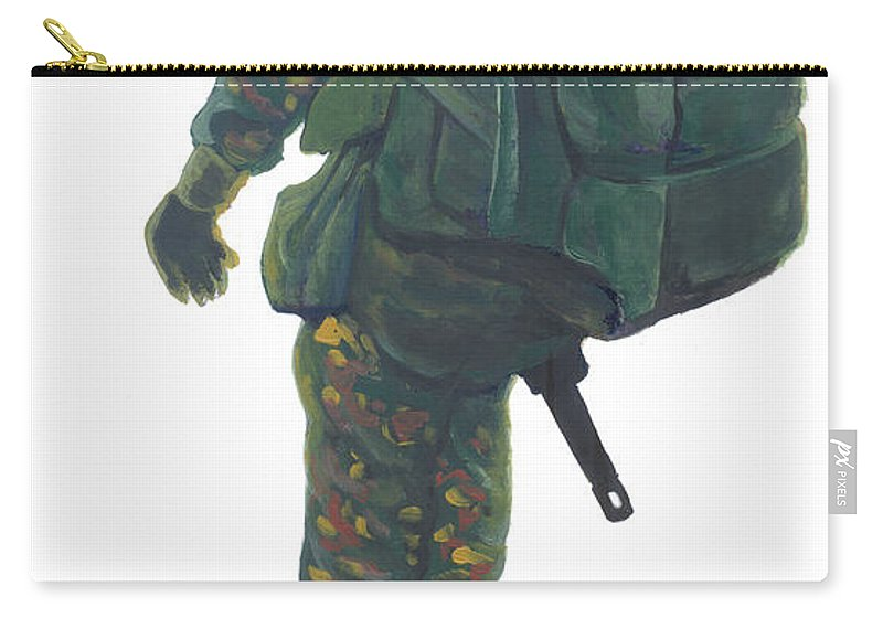 African Art Carry-all Pouch featuring the painting Commando 02 by Emmanuel Baliyanga