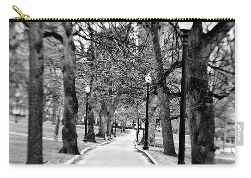 Black & White Carry-all Pouch featuring the photograph Commons Park Pathway by Scott Pellegrin