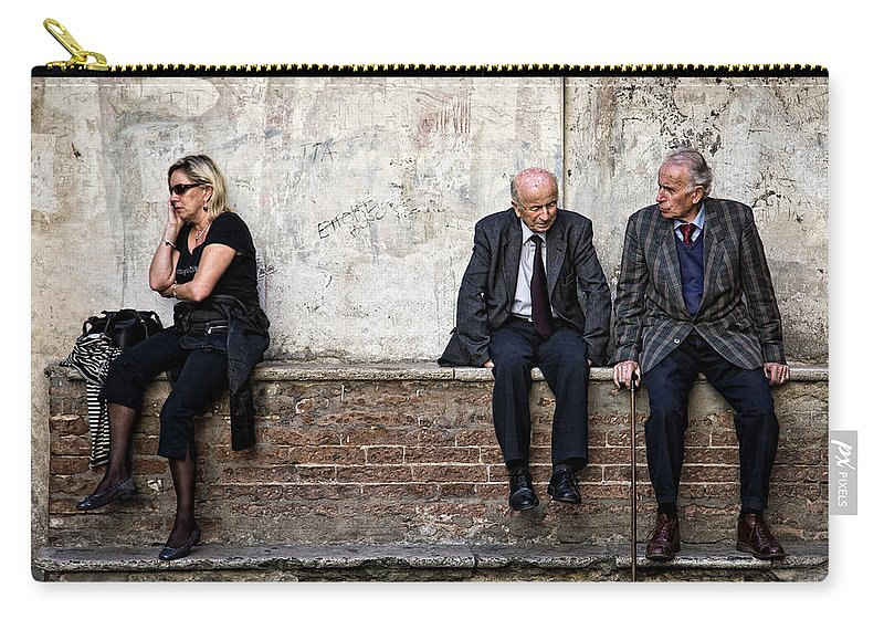 Street Photography Carry-all Pouch featuring the photograph Communication by Dave Bowman