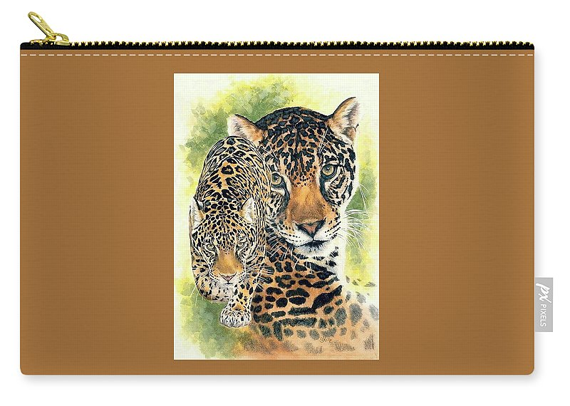 Jaguar Carry-all Pouch featuring the mixed media Compelling by Barbara Keith
