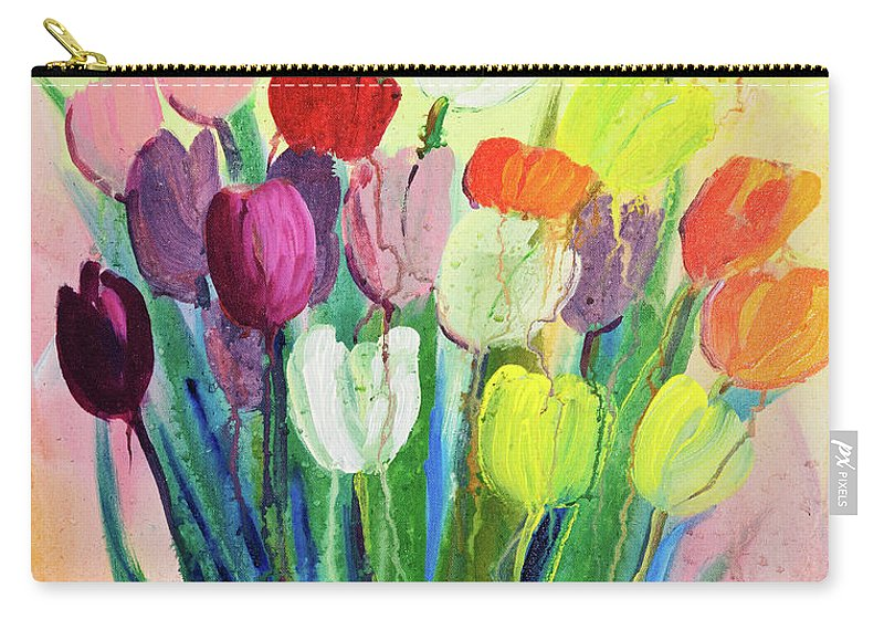 Art Carry-all Pouch featuring the digital art Composition Of Flowers by Balticboy