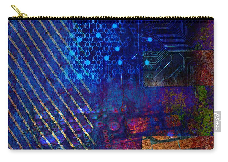 Digital Carry-all Pouch featuring the digital art Compute Abstract by Mary Clanahan