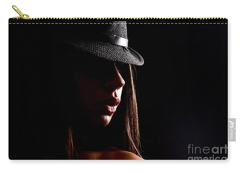 Adult Carry-all Pouch featuring the photograph Concealed Lips by Jt PhotoDesign