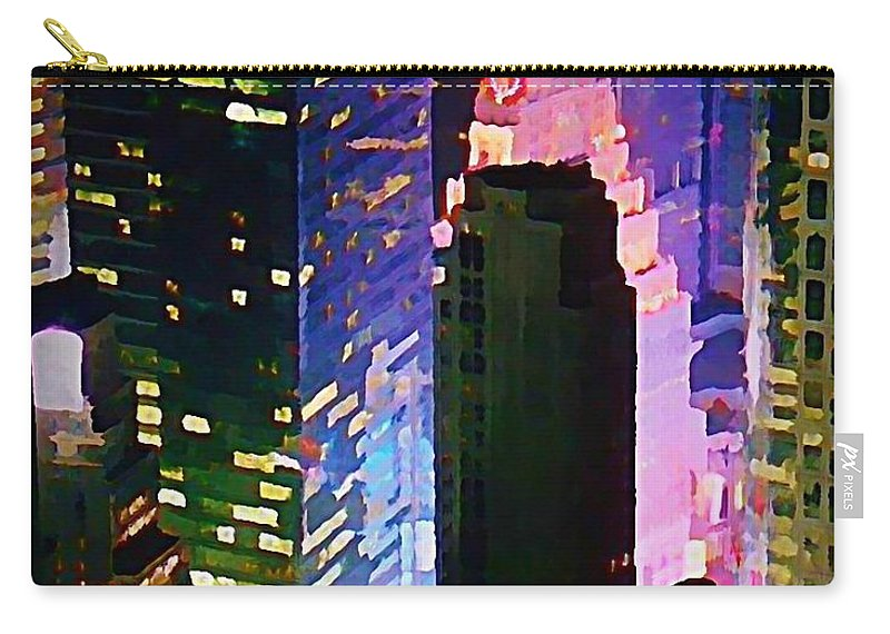 Concrete Canyons Of Manhattan At Night Carry-all Pouch featuring the painting Concrete Canyons Of Manhattan At Night by John Malone