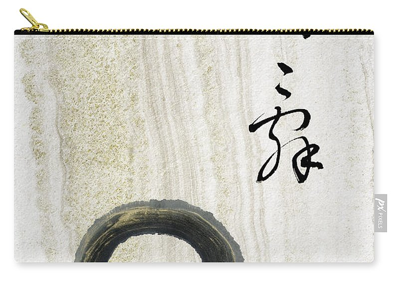 Zen Circle Carry-all Pouch featuring the mixed media Condolences Tooji With Enso Zencircle by Peter v Quenter